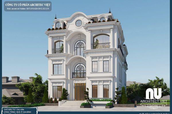 Thiết kế biệt thự tân cổ điển 4 tầng 220m2 đẹp