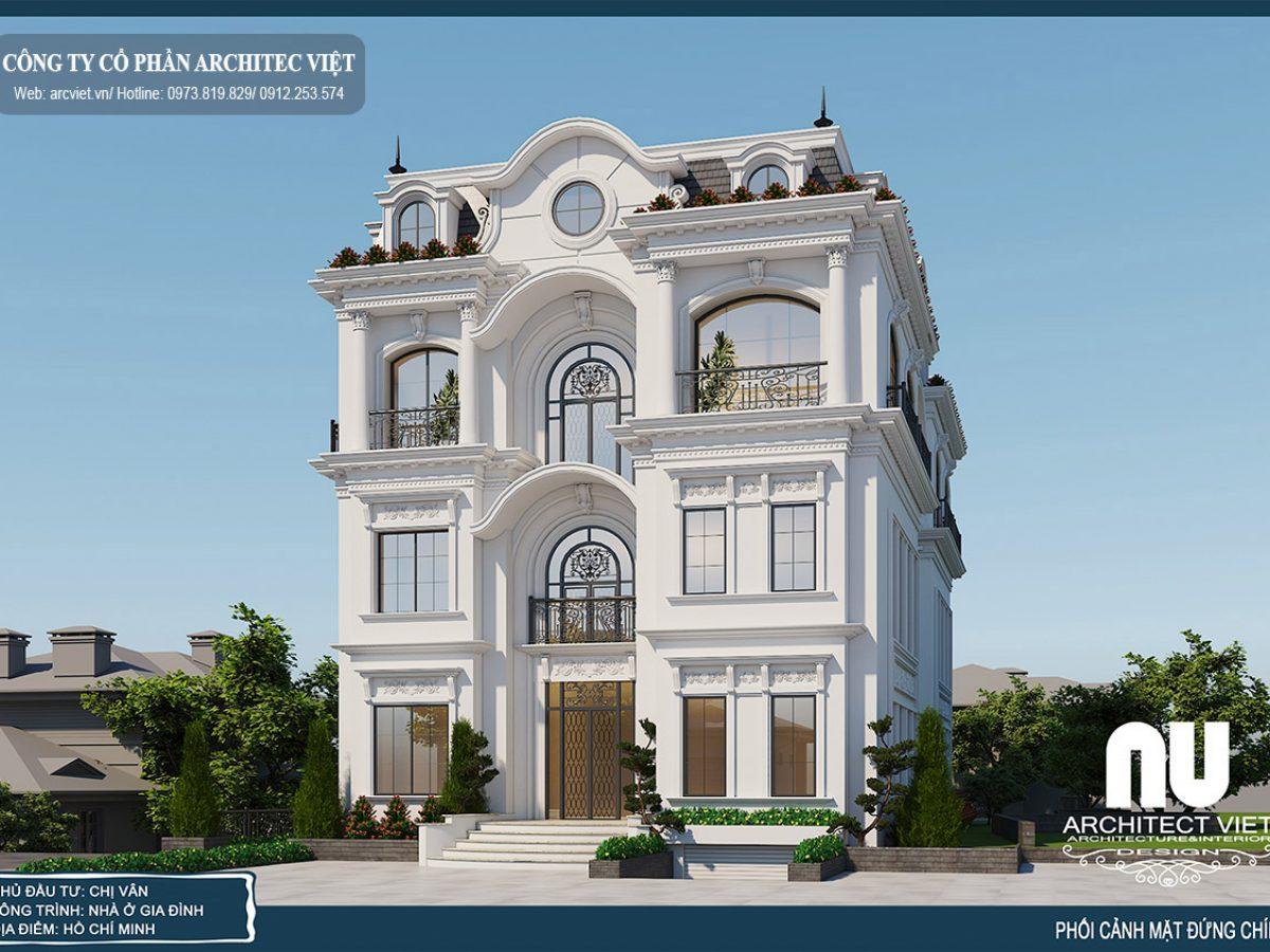 Tìm hiểu mẫu biệt thự 4 tầng 220m2 tân cổ điển đẹp – Phương án 2