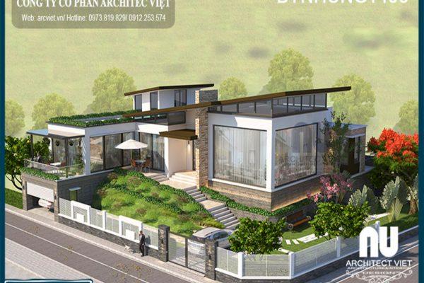 Mẫu biệt thự vườn 1 tầng 800m2 kiến trúc hiện đại nâng tầm đẳng cấp