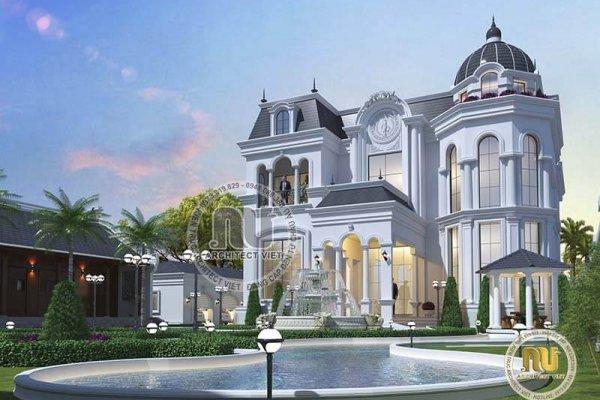 Kiến trúc Pháp trong mẫu biệt thự mái vòm lâu đài tráng lệ