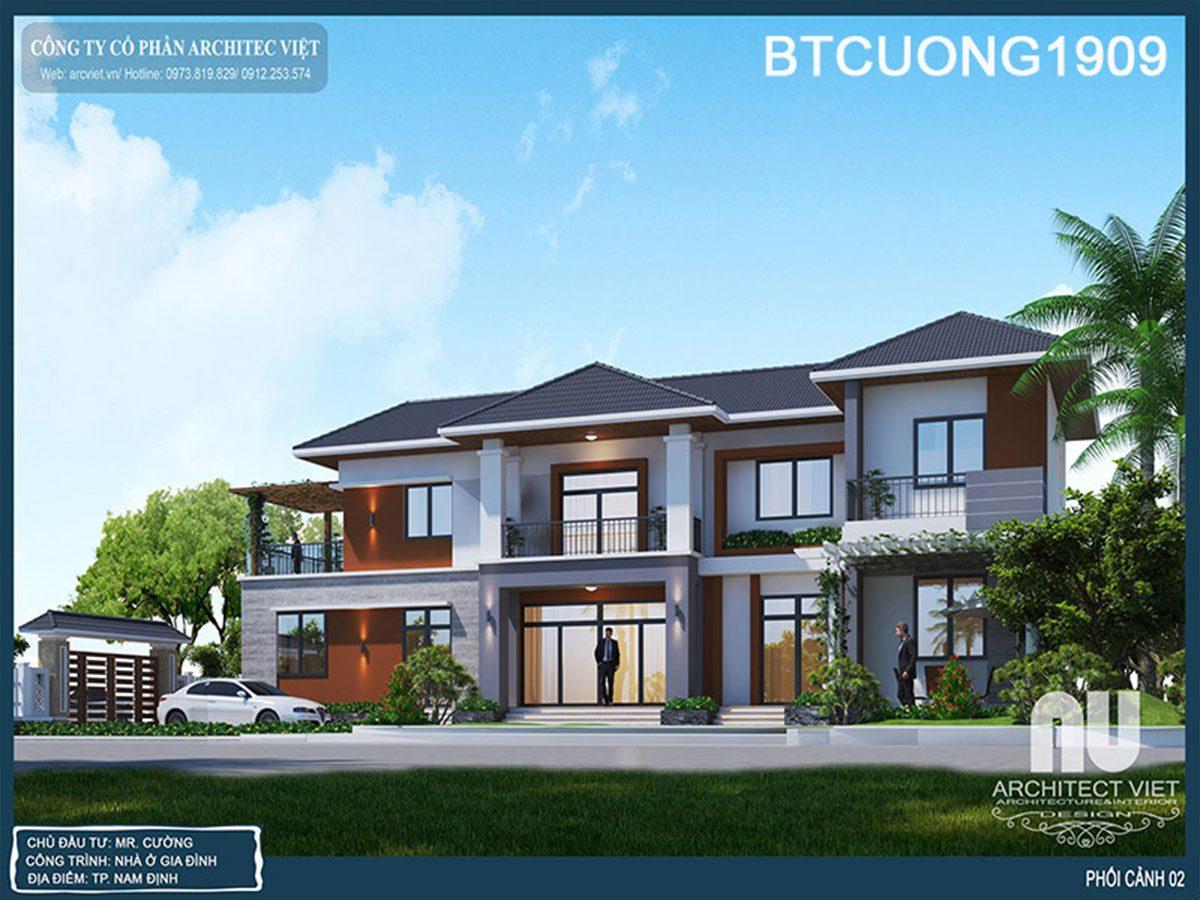 Mê mẩn vẻ đẹp mẫu biệt thự hiện đại 2 tầng 188m2 sang trọng ở Nam Định
