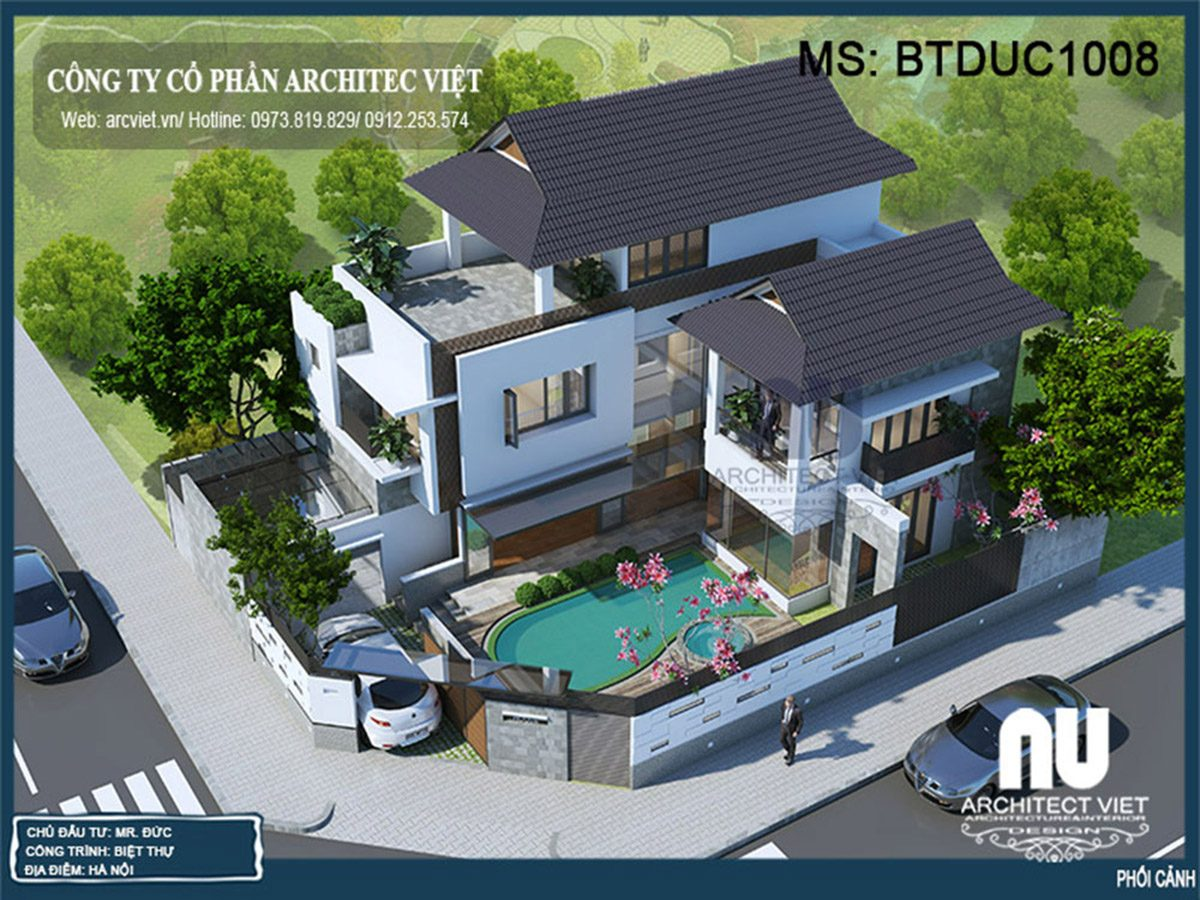 Mẫu biệt thự mái thái 3 tầng 525m2 nổi bật với thiết kế bể bơi độc đáo
