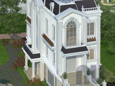 Mẫu biệt thự tân cổ điển 3 tầng đẹp 120m2 tại Gia Lâm