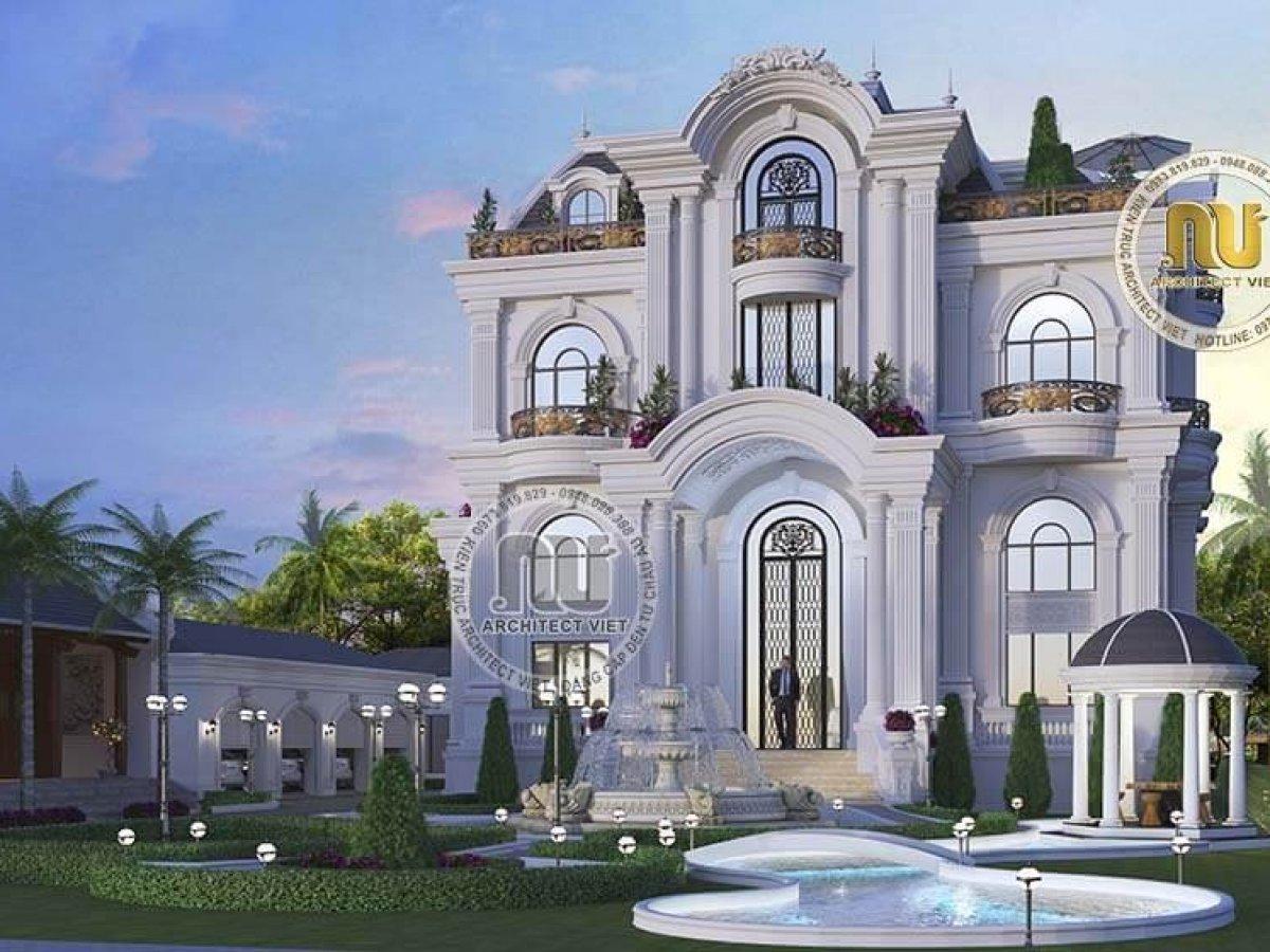 Vẻ đẹp xa hoa của mẫu nhà kiến trúc Pháp 2 tầng 1 tum