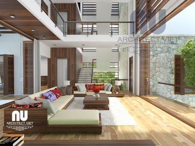 Mẫu thiết kế nội thất biệt thự hiện đại 280m2 với phòng khách thông tầng