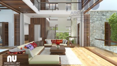 Mẫu thiết kế nội thất biệt thự hiện đại 280m2 thông tầng
