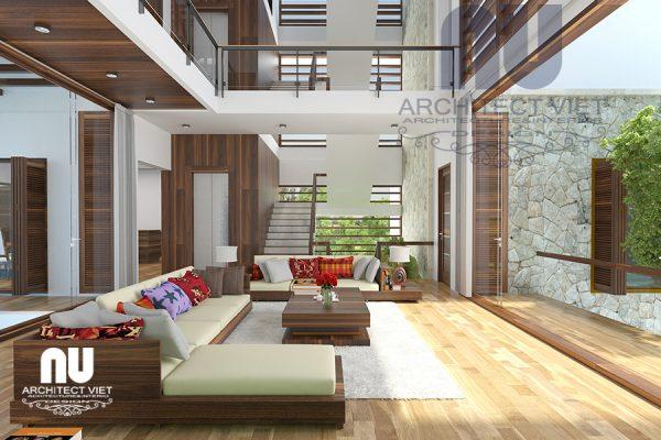 Thiết kế nội thất biệt thự hiện đại 280m2 với phòng khách thông tầng