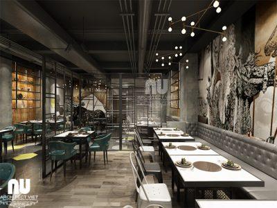 Mẫu thiết kế nội thất nhà hàng lẩu nướng Hàn Quốc