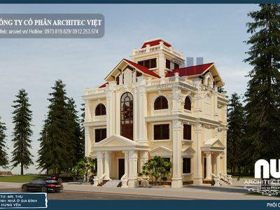 Nổi bật với biệt thự 4 tầng tân cổ điển 170m2