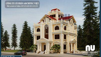 Hưng Yên nổi bật với biệt thự 4 tầng tân cổ điển 170m2 của chú Thụ
