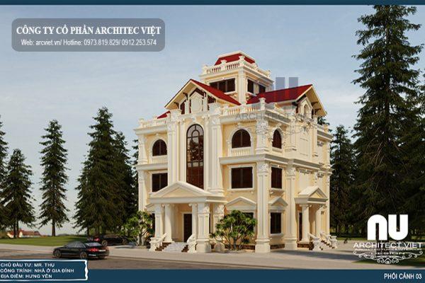 Biệt thự 4 tầng tân cổ điển 170m2 lôi cuốn ở Hưng Yên