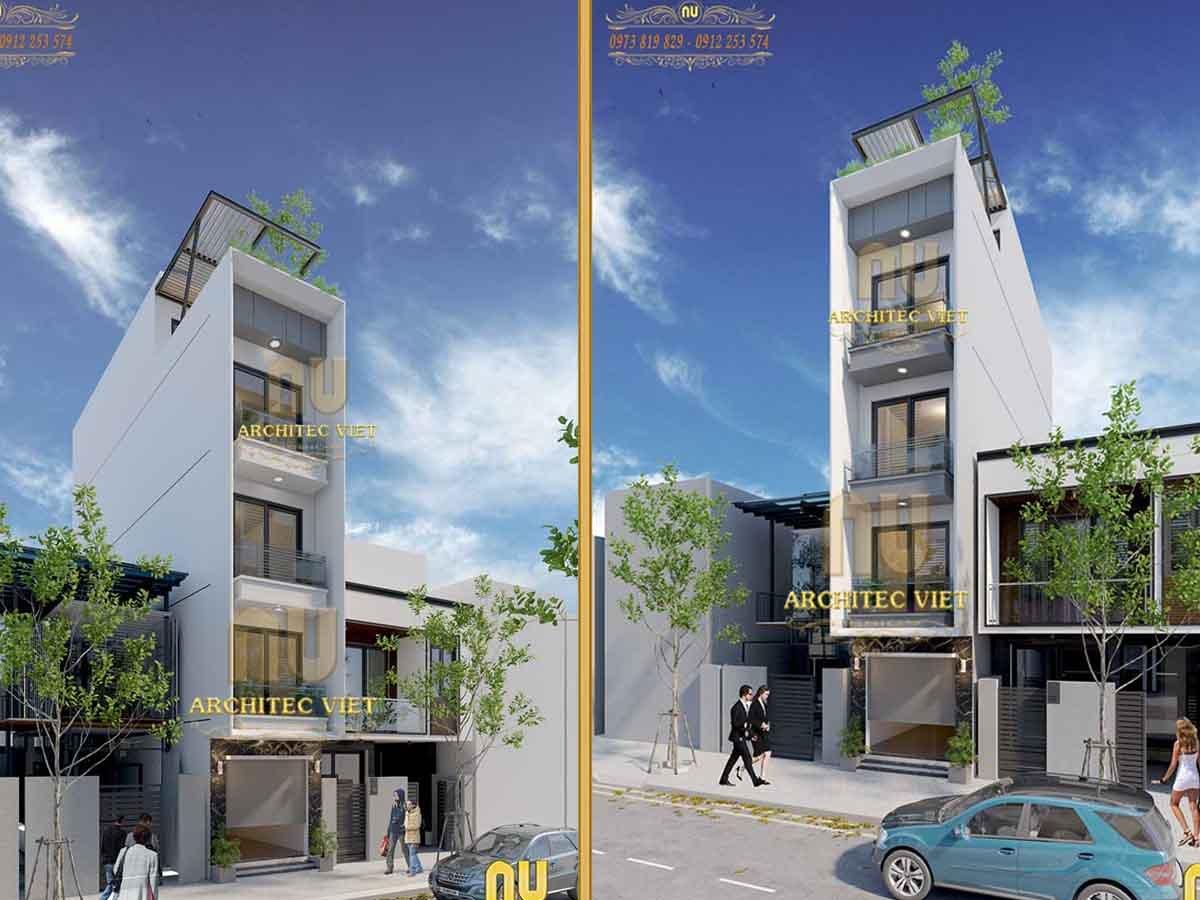 Mẫu nhà phố 4 tầng mặt tiền 3m 40m2 hiện đại cực nổi bật ở Từ Liêm