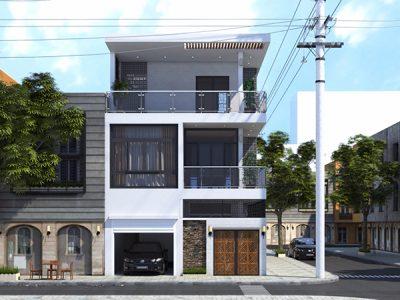 Ấn tượng với mẫu nhà phố 2,5 tầng mặt tiền 8m hiện đại