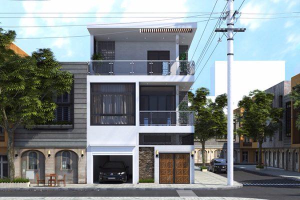 Mẫu nhà phố mặt tiền 8m 2 tầng rưỡi bao gồm 1 trệt 1 lầu và 1 tum