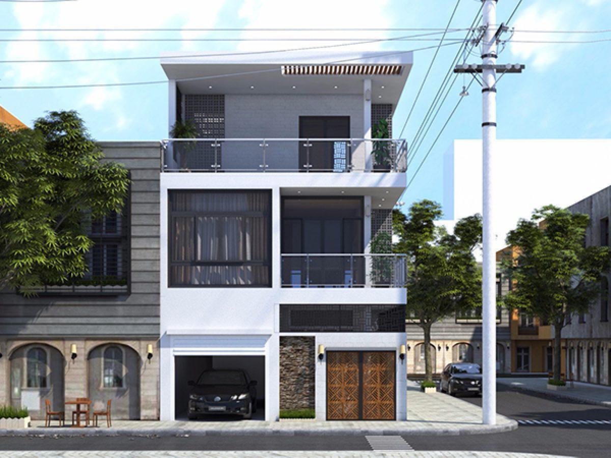 Ấn tượng với mẫu nhà phố 1 trệt 1 lầu 1 tum mặt tiền 8m
