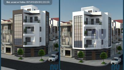 Mẫu nhà phố 3 tầng 2 mặt tiền 70m2 với kiến trúc độc đáo