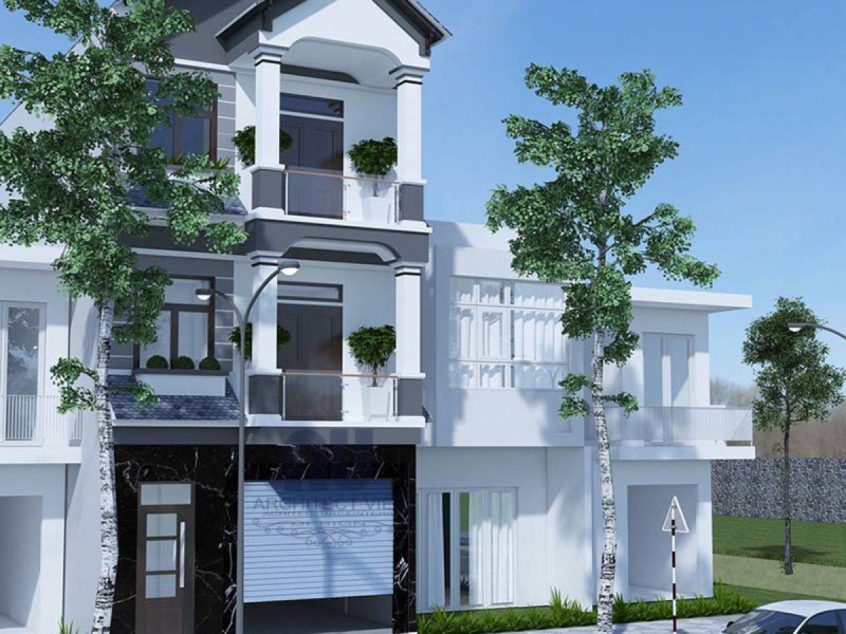 Mẫu nhà phố 3 tầng mặt tiền 5m với nội ngoại thất hiện đại