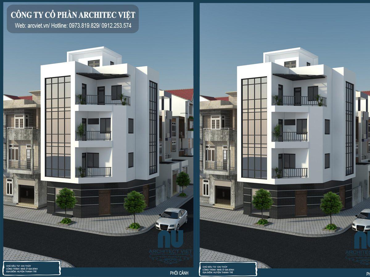 Tham khảo thiết kế nhà phố 4 tầng 2 mặt tiền 70m2
