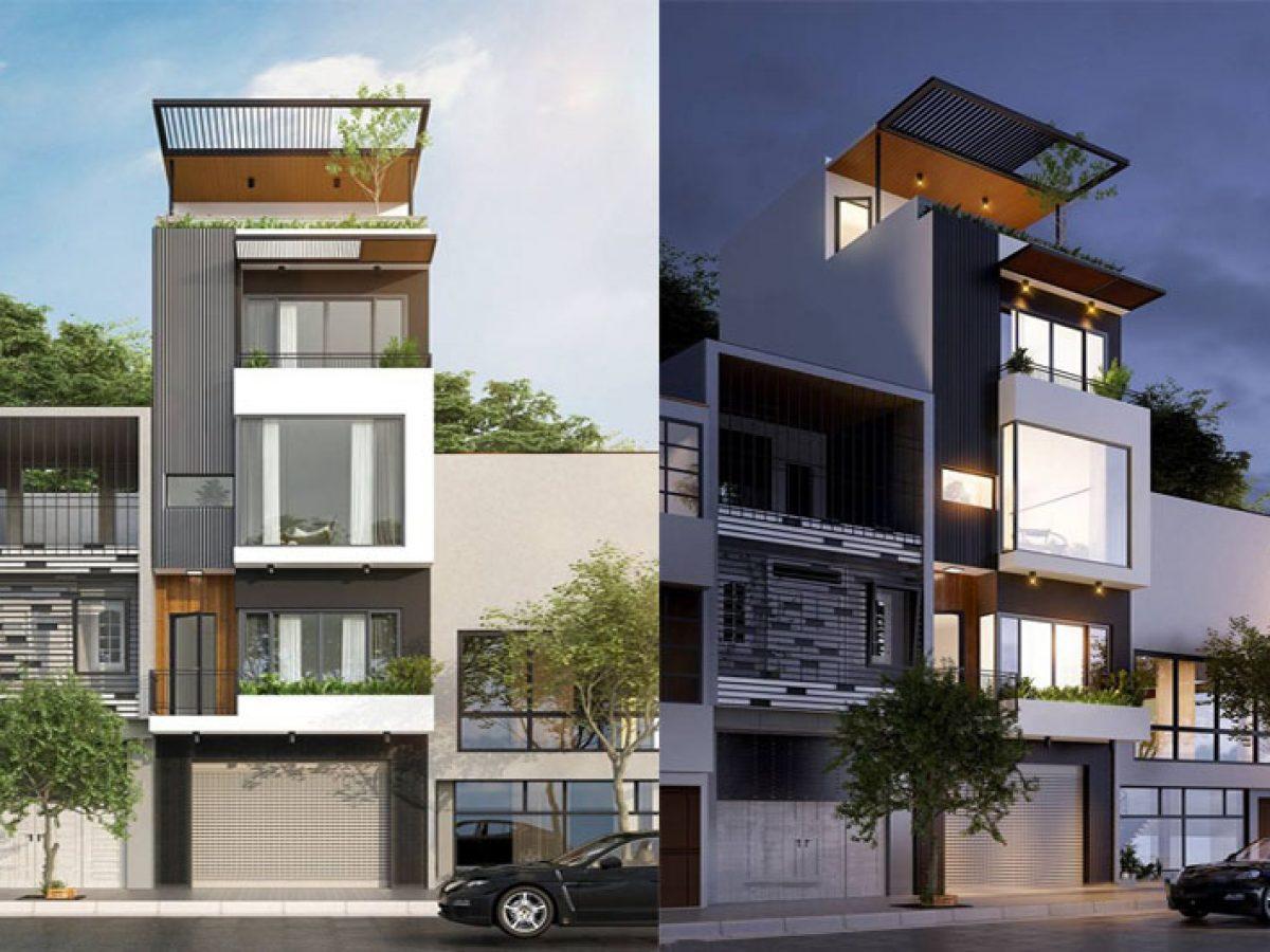 Mẫu nhà phố 4 tầng 50m2 kết hợp kinh doanh đẹp