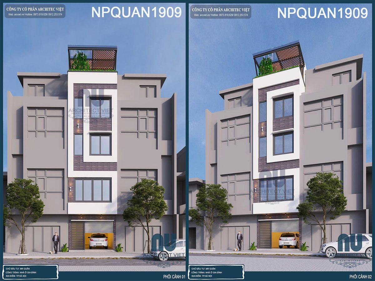 Tham khảo mẫu thiết kế nhà phố 4 tầng mặt tiền 4m 35m2 đẹp tại Hà Nội