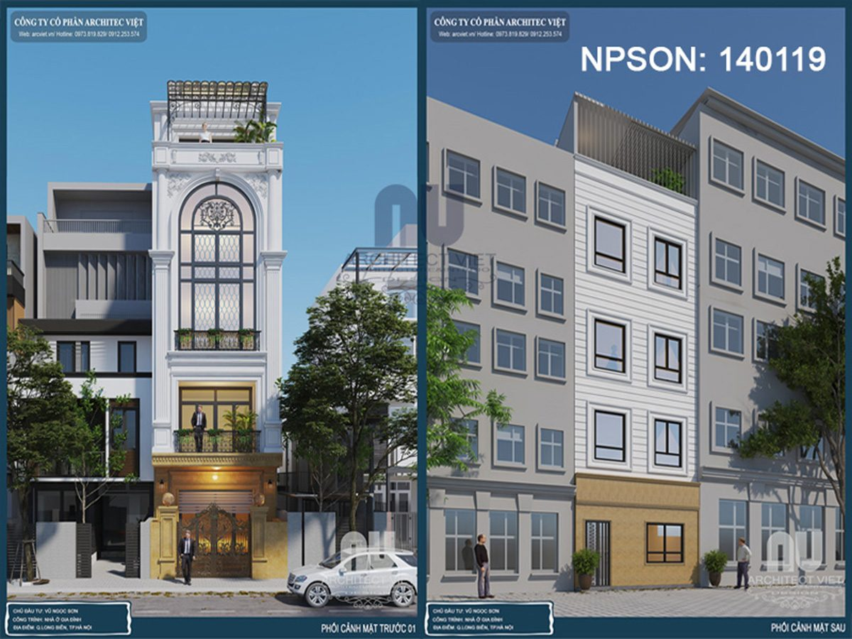 Tham khảo phương án thiết kế nhà phố 4 tầng mặt tiền 5m ở Long Biên