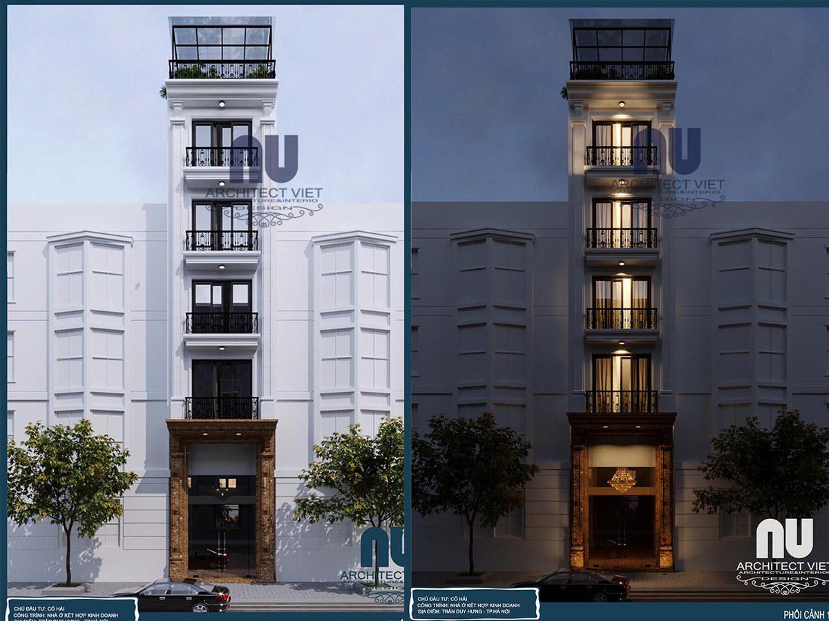 Thiết kế nhà phố 5 tầng 1 tum mặt tiền 4m kết hợp kinh doanh