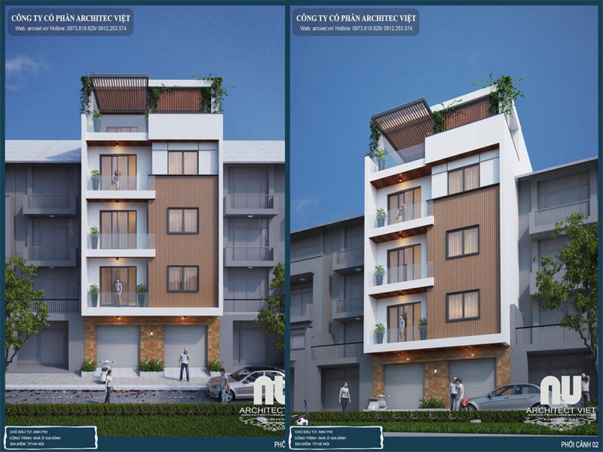 Kiến trúc sau cải tạo mẫu nhà phố 5 tầng 115m2 hiện đại của Gđ anh Phi