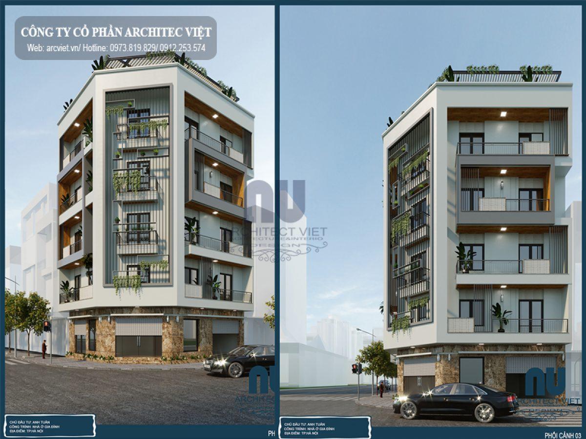 Mẫu nhà phố 5 tầng 2 mặt tiền 90m2 kiến trúc hiện đại