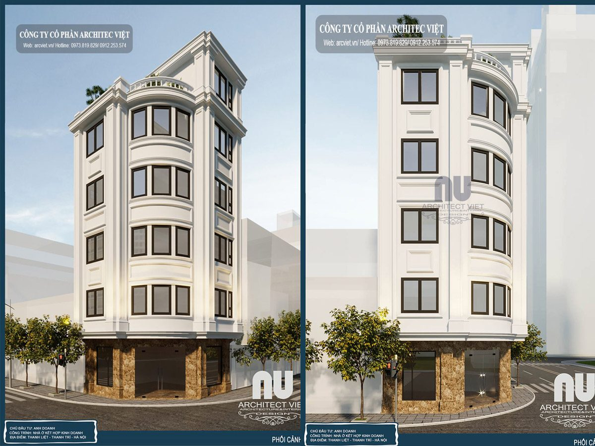 Thiết kế nhà 5 tầng 2 mặt tiền 45m2 kết hợp kinh doanh