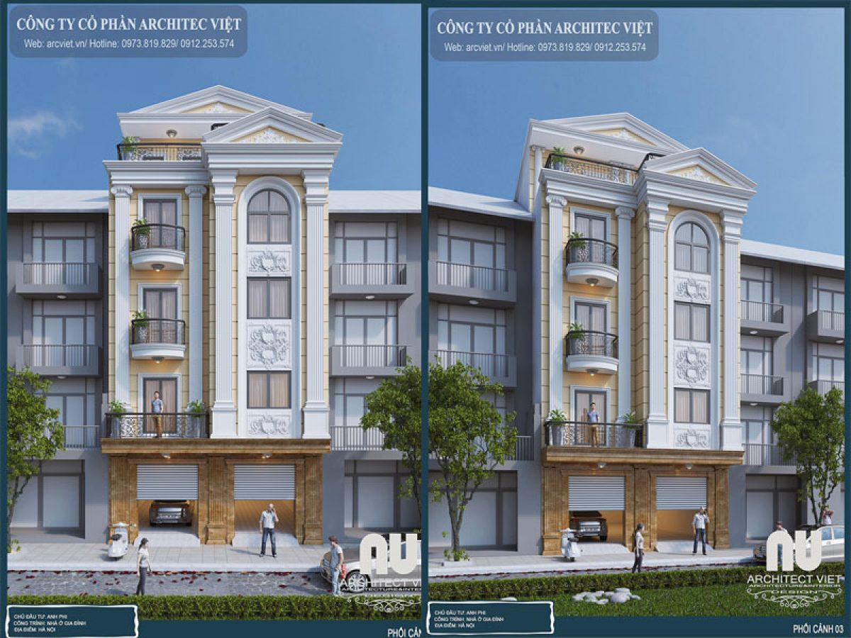 Vẻ đẹp hoàn mỹ của mẫu nhà phố 5 tầng tân cổ điển 115m2 ở Hà Nội