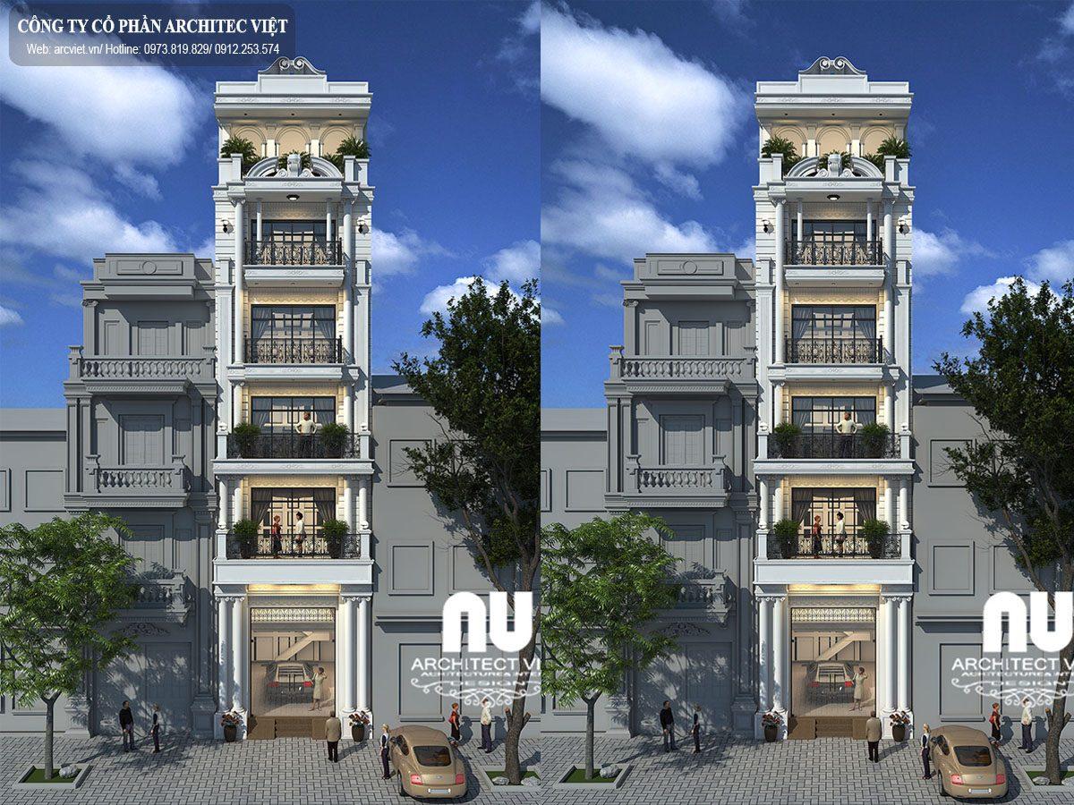 Ngắm nhìn mẫu thiết kế nhà phố mặt tiền 5m 6 tầng