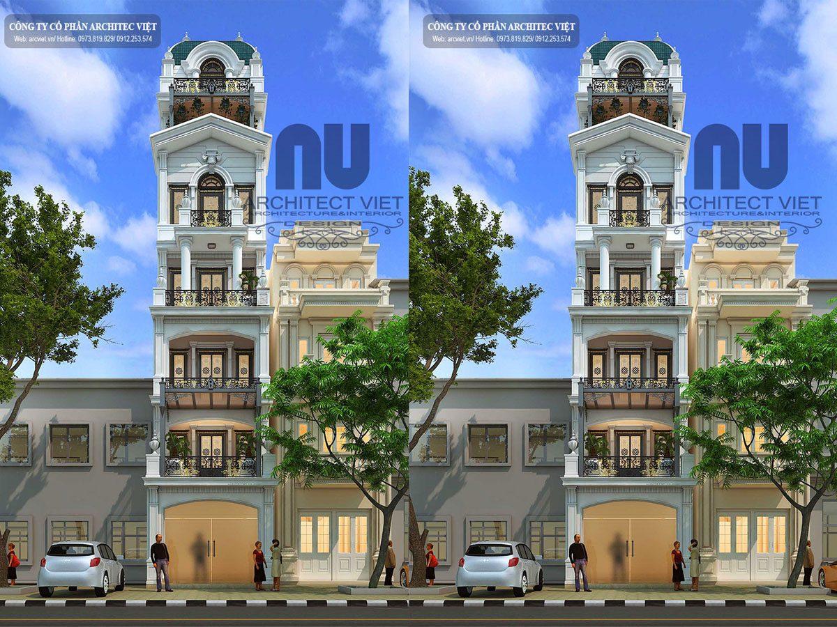 Mẫu thiết kế nhà phố 6 tầng 1 tum 90m2 phong cách tân cổ điển