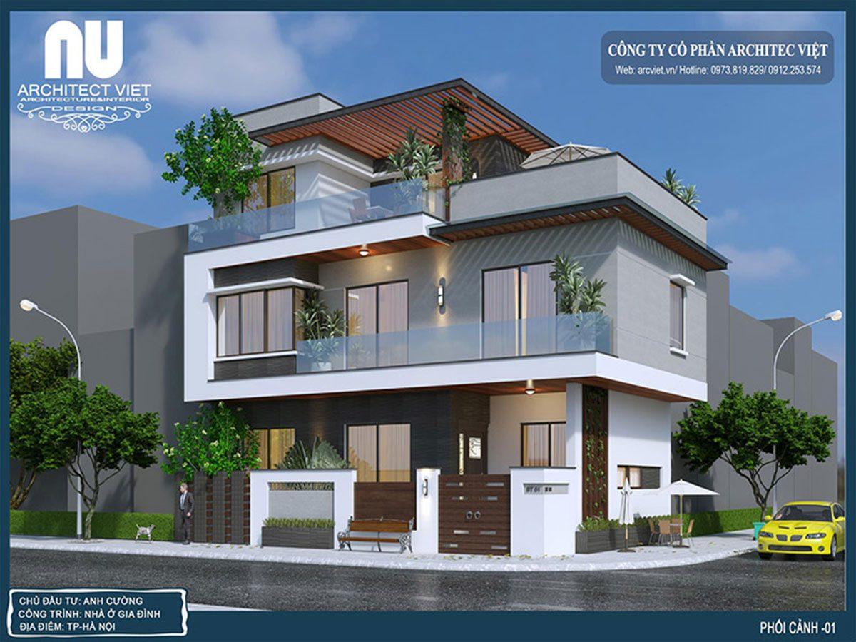 Mẫu nhà 2 tầng 80m2 nổi bật với khối kiến trúc mạnh mẽ | Arc Việt