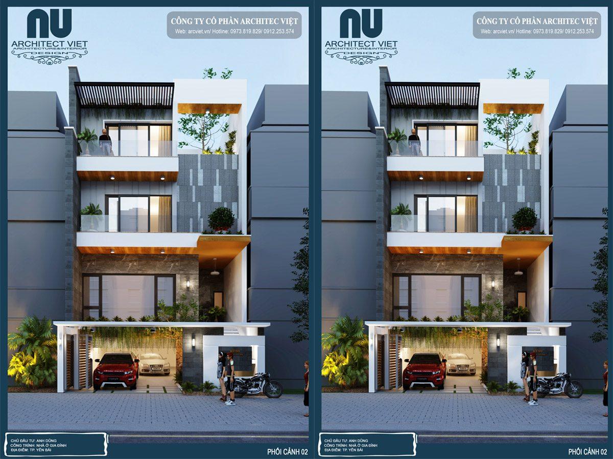 Mẫu nhà phố hiện đại 4 tầng 8x20m thân thiện thiên nhiên