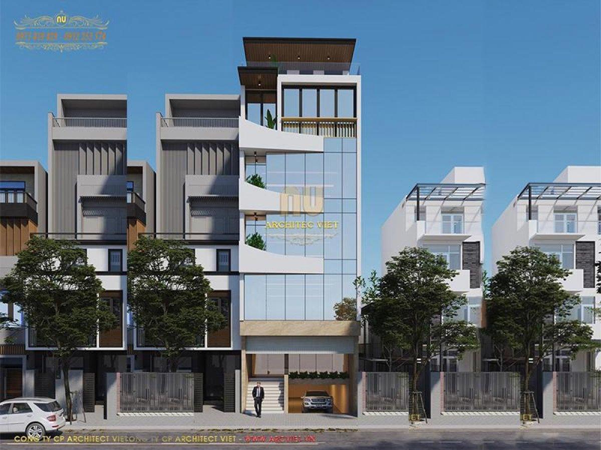 Mẫu thiết kế nhà ở kết hợp văn phòng 5 tầng 105m2 ấn tượng