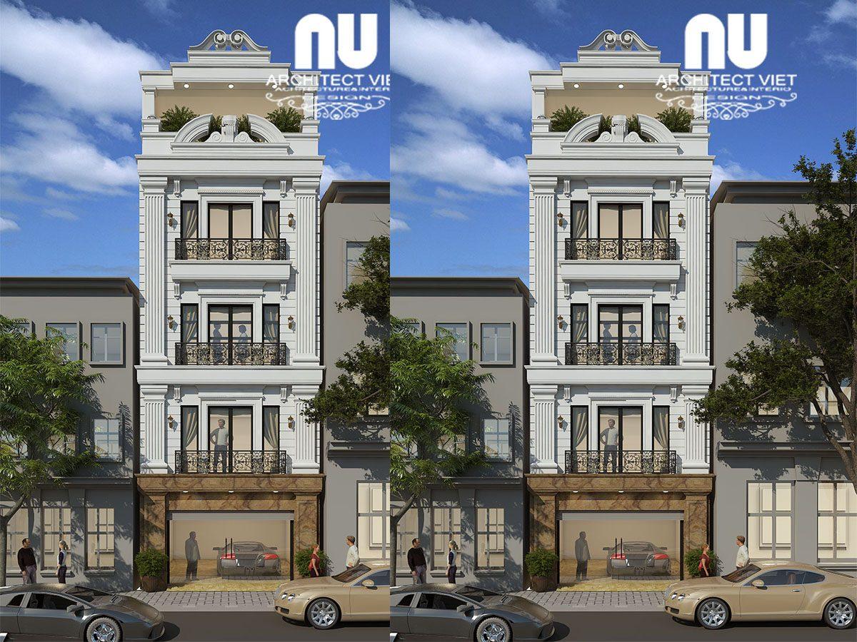 Mẫu thiết kế nhà phố 4 tầng 1 tum 50m2 tân cổ điển