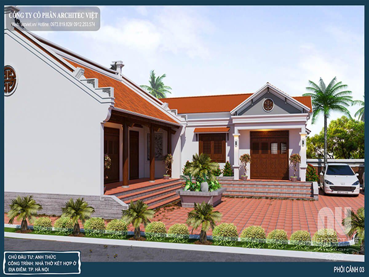 Thiết kế nội thất nhà ở kết hợp nhà thờ họ truyền thống đẹp 2019
