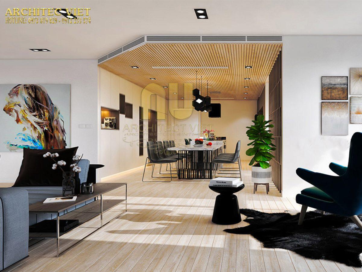 Thiết kế phòng khách liền bếp và những lưu ý cần nắm vững