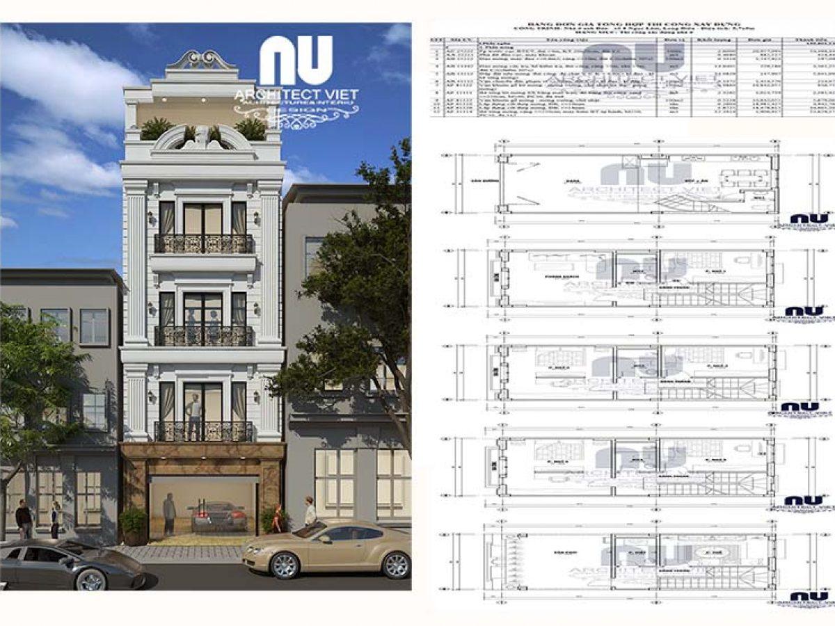 Ấn tượng hình ảnh thi công nhà phố 4 tầng 50m2 tân cổ điển tại Hà Nội