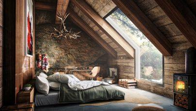 Thích thú với thiết kế nội thất phòng ngủ gác mái tuyệt đẹp