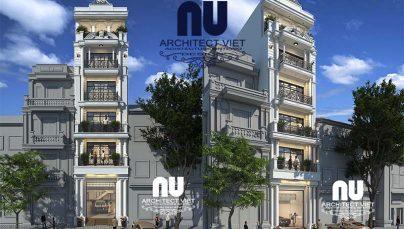 Thiết kế nhà phố mặt tiền 5m 6 tầng theo phong cách hiện đại