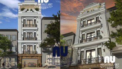 Long Biên nổi bật với thiết kế nhà phố 4 tầng 1 tum 50m2 tân cổ điển