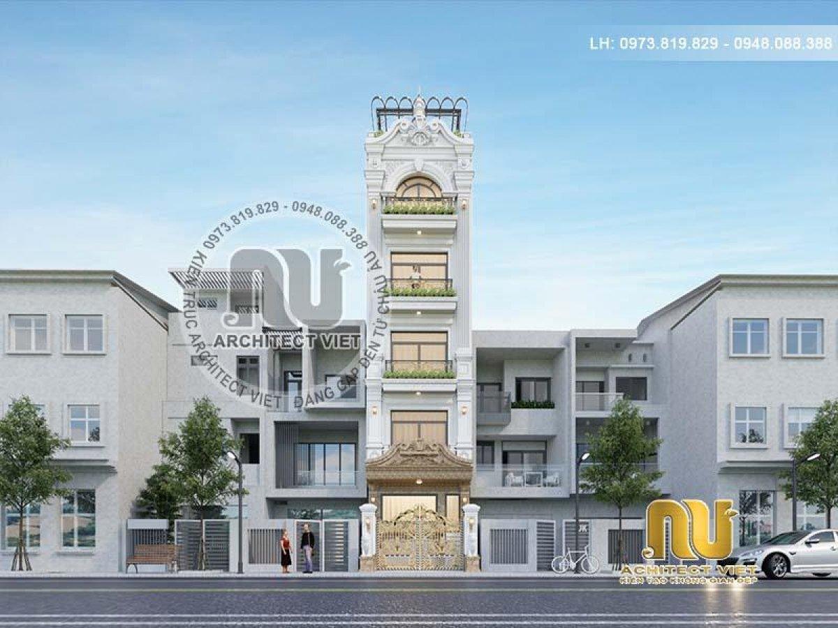 Thiết kế nhà phố đẹp 5 tầng tân cổ điển ấn tượng kiêu sa