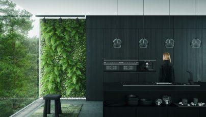 Thiết kế nội thất phòng bếp sang trọng với tone đen trắng