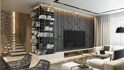 Thiết kế phòng khách ấn tượng với tường làm điểm nhấn
