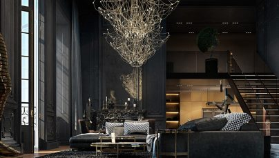 Thiết kế nội thất phòng khách với tone đen sang trọng