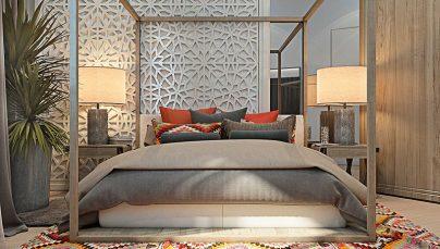 Thiết kế nội thất phòng ngủ mới lạ với giường khung