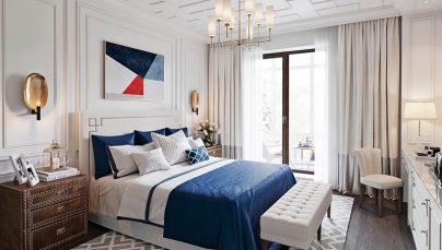 Thiết kế nội thất phòng ngủ với sắc trắng dịu êm