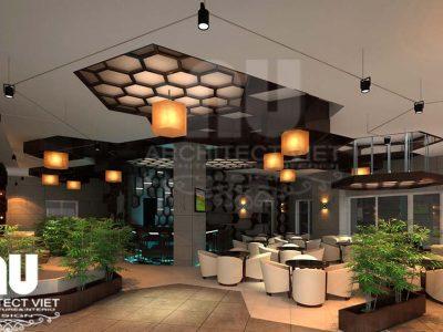 Mẫu thiết kế nội thất quán cafe kết hợp ăn nhanh 280m2